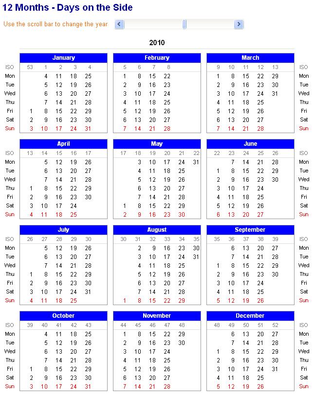 excel 12 month calendar