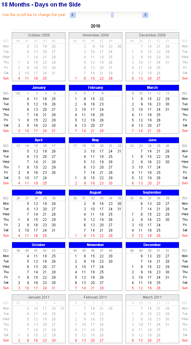 calendar in excel 2010